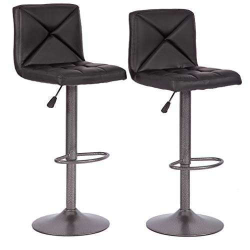 BestMassage Bar Stools Counter Height Adjustable Swivel Barstool Set of 2  with Back PU Leather Kitchen Counter Stools Dining Chairs