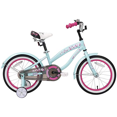 HILAND 14 Inch Kids Bike for 3 4 5 Years Girls, Girls Bicycle with Training Wheels, Children's Beach Cruiser Bike, Gift for Girls, Blue Kids Cycle (Girls Beach Cruisers)
