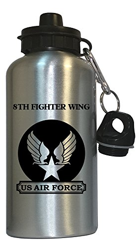 8th Fighter Wing - US Air Force Water Bottle Silver, 1026