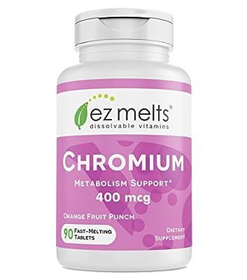 EZ Melts Chromium Picolinate, 400 mcg, Sublingual Vitamins, Vegan, Zero Sugar, Natural Orange Flavor, 90 Fast Dissolve Tablets
