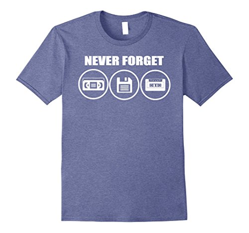 Mens NEVER FORGET: VCR, Floppy Disk, Cassette Tape Classic Tshirt Large Heather - Was 90s Cool The What In