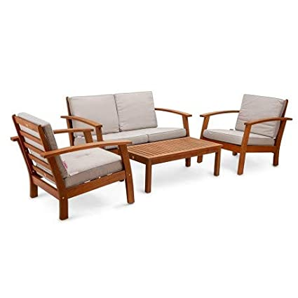 Chillvert Conjunto sofá plazas, 2 sillones 1 Mesa café de jardín. Madera de eucalipto FSC y Cojines