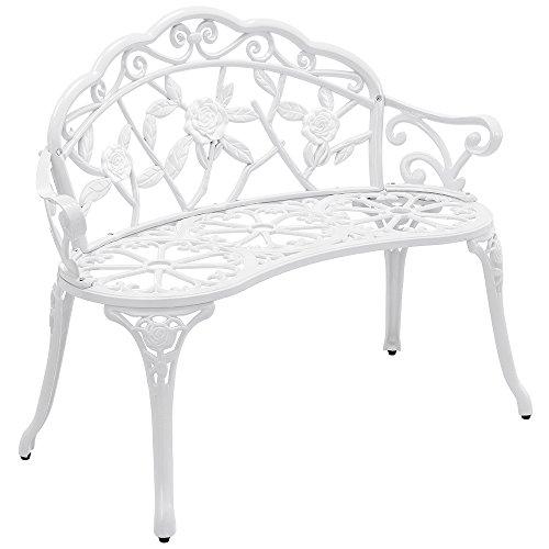 [casa.pro] garden bench – metal – white – romantic design