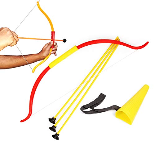 Evan Multicolor Bow and Arrow with 3 Arrows for Kids Archery Game for Kids Indoor-Outdoor Game.
