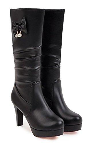 Enfiler Bottes Noir Hauts Aisun Fashion Femme Talons Noeud qYS0X8w