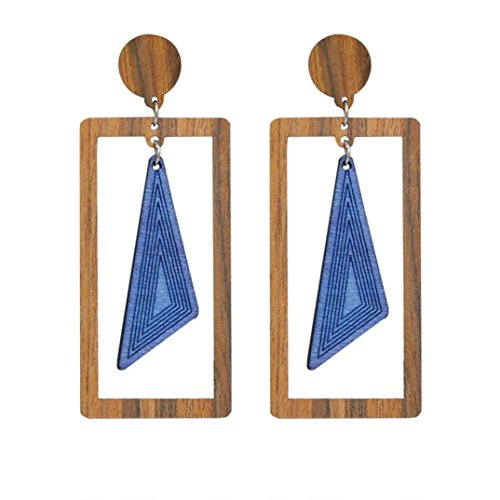 - DBolomm Ladies Temperament Wooden Dangle Stud Earrings Fresh And Gentle Geometric Earrings for Wedding Party for Wedding Party (E)