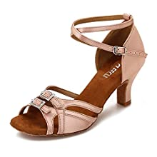 CLEECLI Women's Ballroom Dance Shoes Latin Salsa Dancing Shoes Adjustable Toe Width 2.5 Inch Heel ZB11(10,Nude-2.5 Inch Heel)
