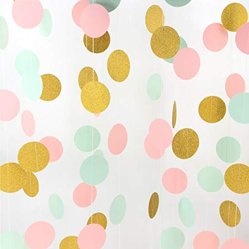 Pink and Gold Hanging Paper Garlands Decorations Mint Green Ceiling Hangings Banners Baby Shower Nursery Wedding Bridal Shower Party Decorations, 26ft