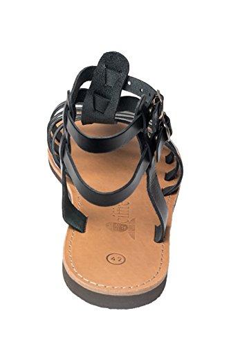 Hecho a mano superior de tiras de cuero genuino de la sandalia de Grecia Creta en beige Beis Blanco Negro Marron. Tamaño 36-47 Negro