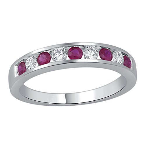 Jewel Ivy 14K White Gold Ring with Ruby and Diamond (I2-I3-G-H-I) Size US-6.5-6.75, Fine Jewelry, Best For Gifting Wife, Girlfriend, Friend by JEWEL IVY