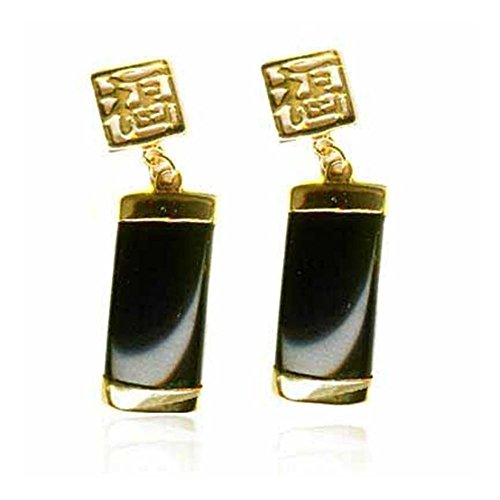 Gold Tone Onyx Earrings - Gold Tone Over Sterling Silver Onyx Chinese Motif Dangle Earrings