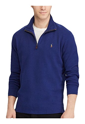 RALPH LAUREN Polo Men's Estate-Rib Cotton Mock Neck Half Zip Pullover Sweater (Fall Royal, XX-Large) -