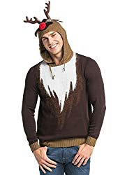 Unisex Men's Ugly Christmas Knitted Hoodie Sweater