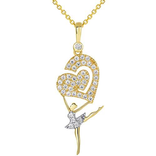 14k Yellow Gold CZ Arabesque Ballerina Dancer Holding Heart Pendant Necklace, 18