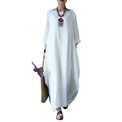 Helisopus Women's Long Casual Maxi 3/4 Sleeve Round Neck Solid Loose Baggy Dress Plus Size