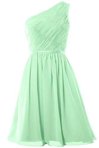 MACloth Women One Shoulder Chiffon Short Bridesmaid Dress Wedding Party Gown (26w, Mint)