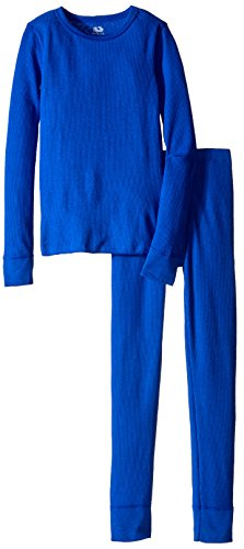 Fruit of the Loom Boys' Big Waffle Thermal Underwear Set, Nautical Blue, 10/12