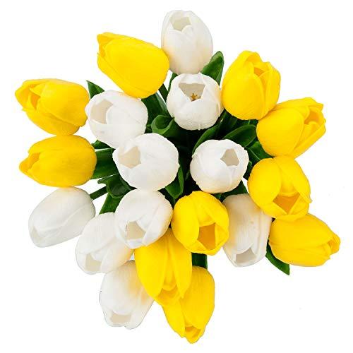 PiXiu-XP 20 pcs Real-Touch Artificial Tulip Flowers Arrangement Wedding Bouquets Home Room Office Centerpiece Party Wedding Decor (White+Yellow) ()