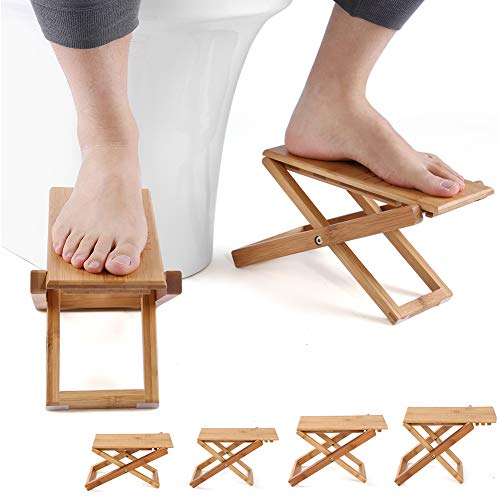 Furniture Life Squatting Toilet Stool, Folding Bamboo Wood Squat Stool