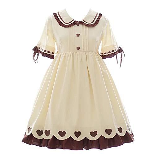 Anglo Angel Women Lolita Sweet Heart Dress Princess Peter Pan Collar Dolly Ruffle Bows Skirts