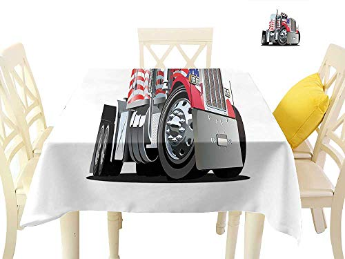(cobeDecor Square Polyester Tablecloth American Flag Themed Semi 18 Wheeler Patriotic Transportation Industrial Vehicle W54 x L54, for Kitchen Dinning Tabletop Decoration)