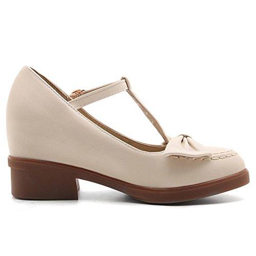 Zapatos Bombas Zapato Dedo Correa Pie Beige Mujer Cerrado Moda T Del Bowtie With COOLCEPT para En dS1wqd