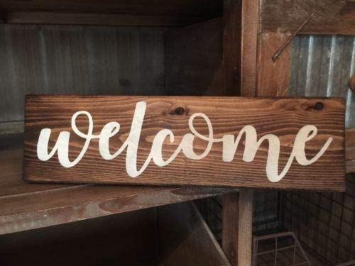 Amazon Com 123roywarner Rustic Wood Sign Welcome Sign Door Country Home Decor Porch Farmhouse Wreath Home Kitchen