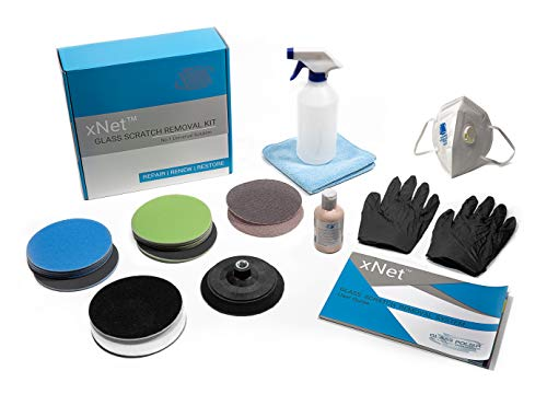 Glass Polish GP25022 PRO Glass Scratch Removal Kit/xNet System/Removes Scratches, Grinder Welder Splatter Damage, Graffiti and Acid Etching, Hard Water Deposits/Suitable for Any Type of ()