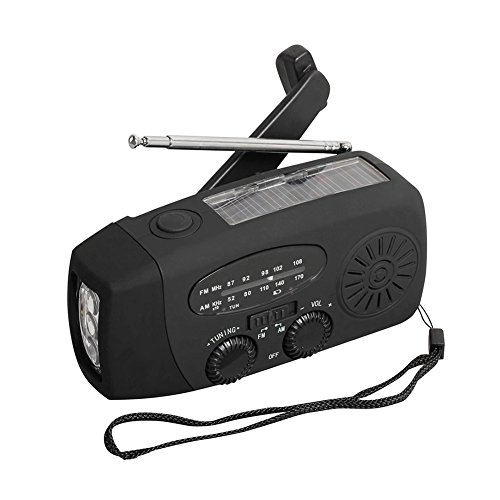 (Multi-functional Solar Radio Hand Crank Self Powered Emergency generation function FM/AM/NOAA Radio with LED Flashlight and 1000mAh (Black))