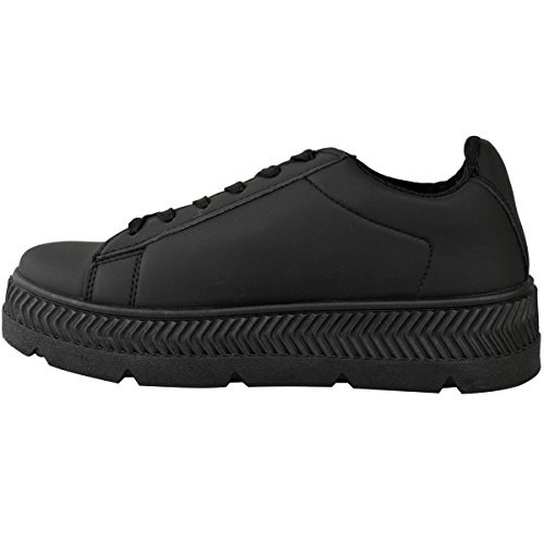 Black Creepers Womens Wedge Sports Shoes Size Thirsty Fashion Work Leather Faux Flatform Sneakers TSWnvaqa