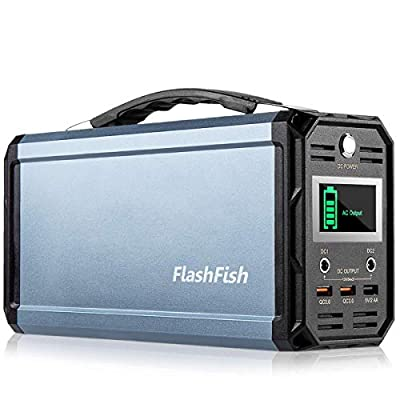 300W Portable Generator, FlashFish 60000mAh Power Supply Station Camping Solar Generator, Drone Battery Recharged by Solar Panel/Wall Outlet/Car, 110V AC Out/DC 12V /QC USB Ports for CPAP Camp Travel