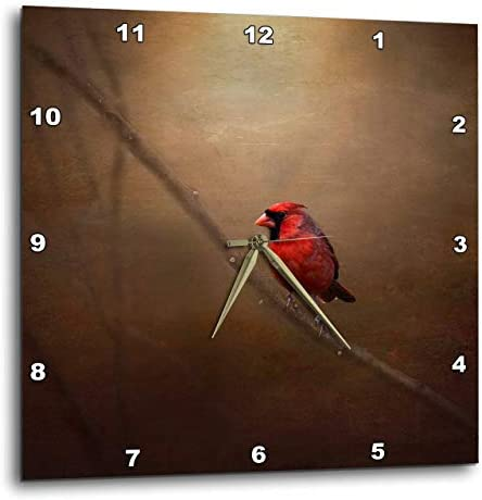 3dRose DPP_53842_3 Cardinal Fine Art Decor-Wall Clock, 15 by 15-Inch