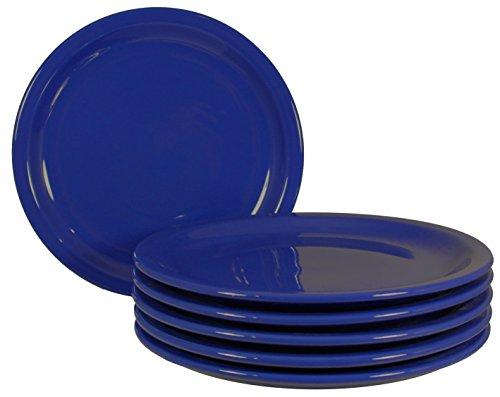 Dinner Plates with Pan Scraper, 6-Pack (9 Inch, Cobalt Blue) ()