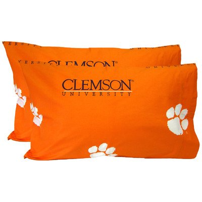 College Covers Clemson Tigers Pair of Solid Pillowcase, King