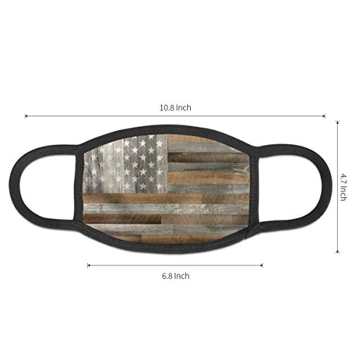 Wood American Flag Mouth Mask Dust-proof Face Mask Unisex Mouth Muffle Cotton Earloop Mask Washable Mouth Mask Cover For Outdoor Cycling Camping Travel
