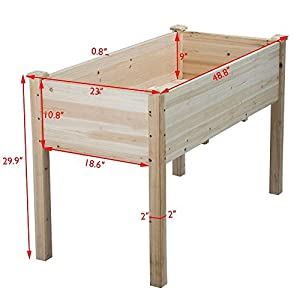 Yaheetech Wooden Raised/Elevated Garden Bed Planter Box Kit for Vegetable/Flower/Herb Outdoor Gardening Natural Wood