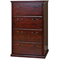 Bowery Hill 4 Drawer Lateral File Cabinet in Vibrant Cherry