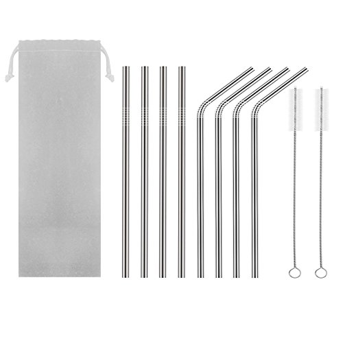 Discount HAHOME FDA-Approved Extra Long 8.5'' Stainless Steel Drinking Straws,Reusable Metal Drinking Straws (4 Straight + 4 Bent + 2 Brushes) supplier