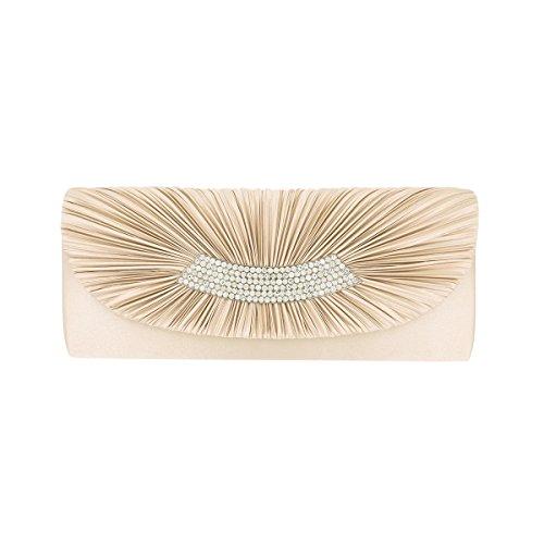 Elegant Pleated Satin Flap Crystal Clutch Evening Bag, (Satin Flap Clutch)