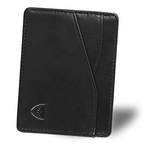 DONWORD RFID Slim Leather Card Case Wallet Minimalist Credit Card Holder Money Clip (Slim Black) ()