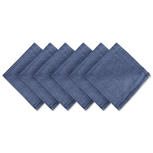 CC Home Furnishings Set of 6 Denim Blue Embroidered Jeans Napkins 20