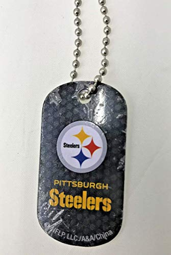 - Mirror Mania Pittsburgh Steelers NFL Football Dog Tag Chain Personalized Free Engraved Custom Name On Back - a Chain, Keychain, Luggage tag, or Clip on Backpack or Bag.