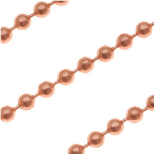 Beadaholique Genuine Copper Ball Chain 2.4mm - Sold by The - Solid Ball Copper Chain