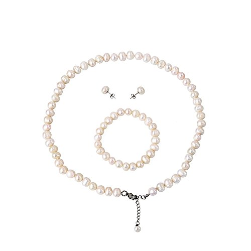 LEILE White Freshwater Cultured Pearl Necklace Earring Ear Studs Hand Chain 3 piece suit by LEILE