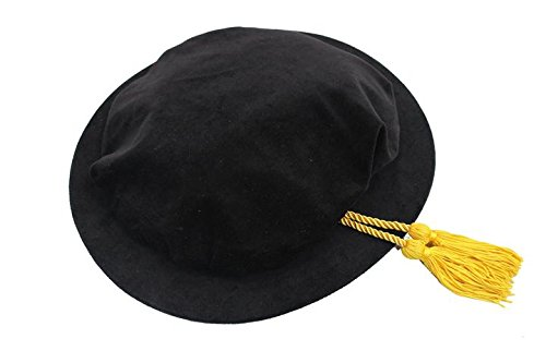 Black Poly Doctoral Beefeater Style Gold Tassel Bonnet - DeluxeAdultCostumes.com