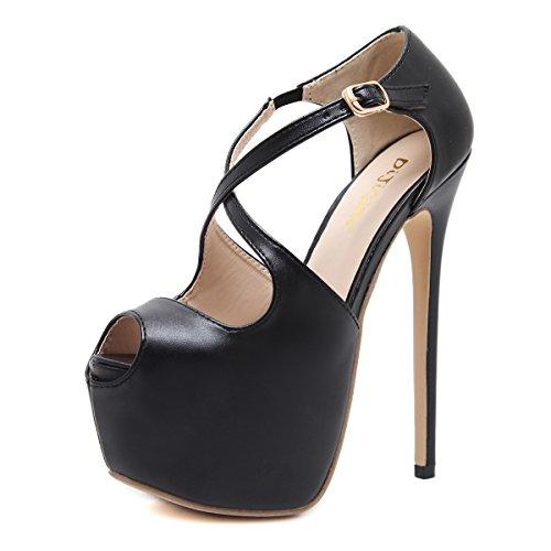 ZHZNVX Tacones de 16 cm de plantilla de nombre italiano les encantará el clásico de 16 cm de alto-heel shoes black
