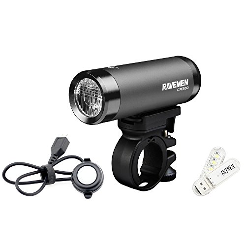 SKYBEN Ravemen CR300 USB Rechargeable Bike Front Light Max 300 Lumens 6 Lighting Levels Automotive LED Remote Cycling Headlight with USB Light by SKYBEN