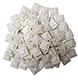 1'' Cable Wire Zip Ties Mounts Self ADHESIVE Clips Base Nylon Premium Grade Strength Mounting Base(30 x 30) Rectangle Plastic Securing Cable and Cable Bundles to a Surface (200, White)