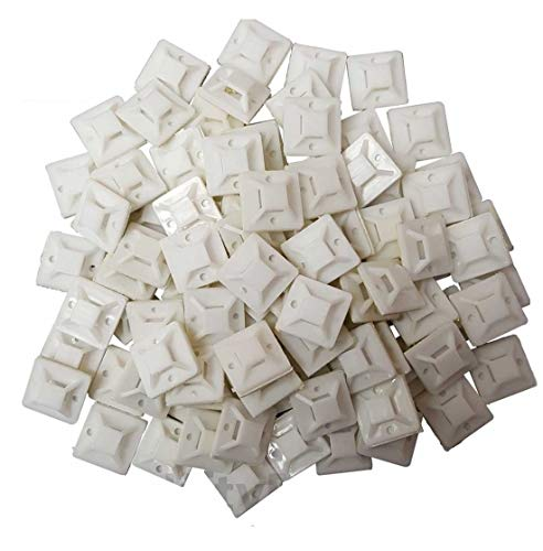 Cable Tie Mounts (25mm x 25mm) Self ADHESIVE Clips Wire Tie Base - Premium Grade Strength Screw-Hole Anchor Point Provides Optimal Strength (100 Clear/White) ()
