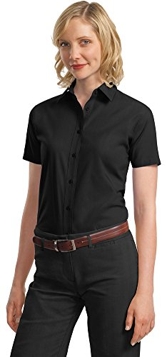 Port Authority Womens Short Sleeve Value Poplin Shirt L633 -Black XS